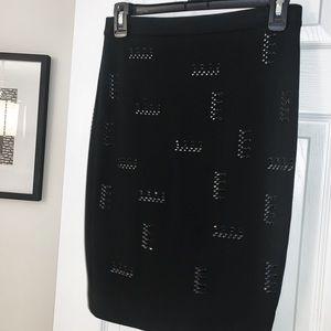 Embellished Black Pencil Skirt